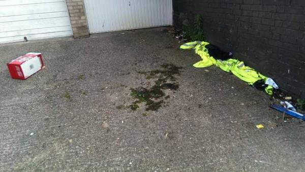 hi vi vests from a resent event been dumped at garages along with empty beer box-12 Frewin St, Leicester LE5 0PA, UK