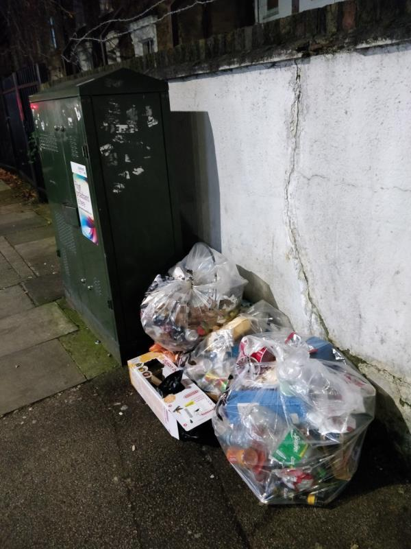 Dumped cardboard box on the pavement beside 2 Gurney Road off Leytonstone Road E15-2 Gurney Road, London, E15 1SH