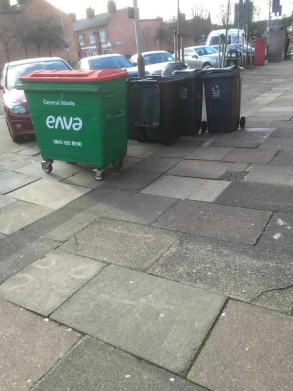 Reported numerous times bins left permanently on street-215 Hinckley Road, Leicester, LE3 0TG
