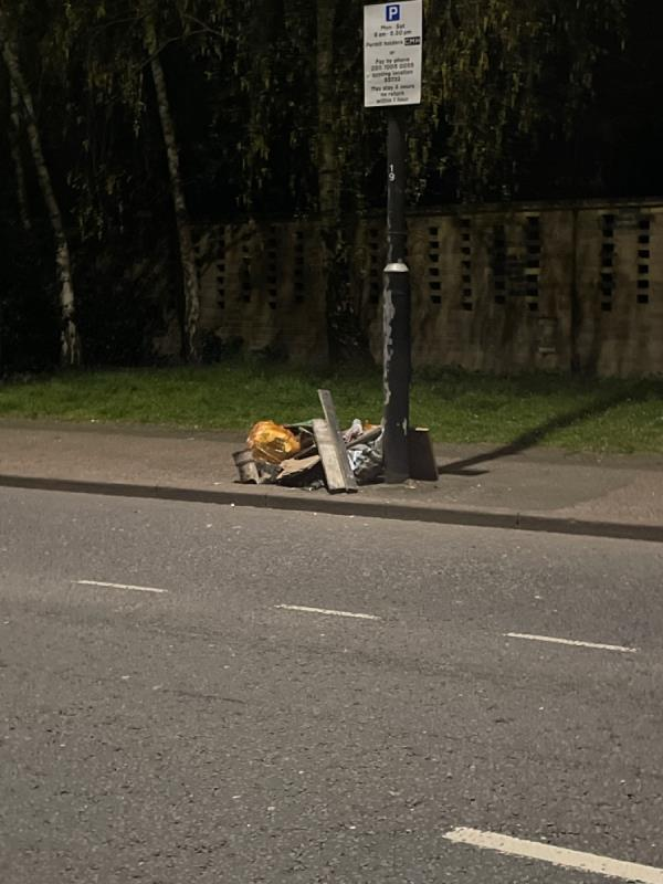 Dumped wood, bags and other rubbish-17 Opal Close, Canning Town, E16 3TT