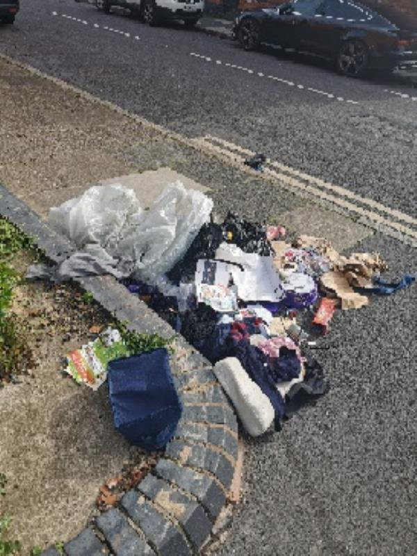 Rubbish dumped on the corner right outside my house. Don't know what's in it but can see clothes and old toys. Camera from the shop may have caught them. -66 Hopefield Road, Leicester, LE3 2BJ