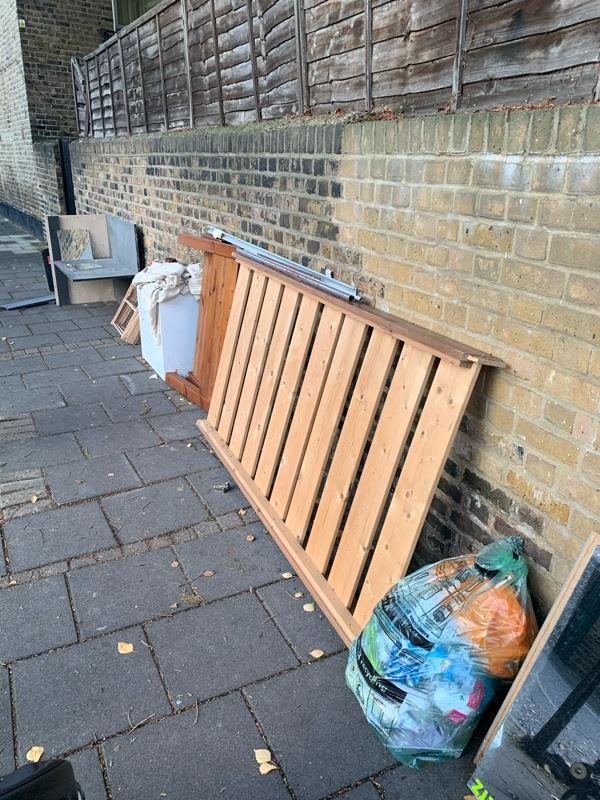 Lots of rubbish fly tipped on the corner of Reighton rd and Brooke road-143 Brooke Road, London, N16 7RP
