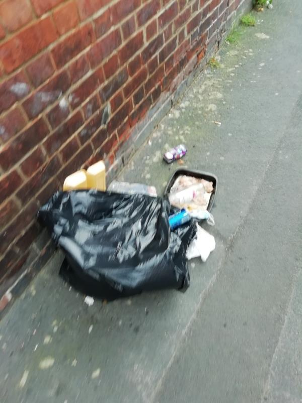 Flytipping on pavement, clothing and domestic waste dumped near telecoms box, including food waste.-333 Oxford Road, Reading, RG30 1AY