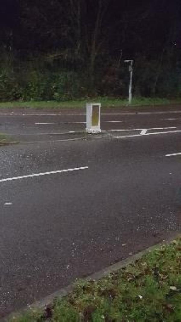 This bollard's bulb needs replacing. It is situated at roundabout on Sandhills Avenue near Bellflower Road outbound.-11 Moulton Rd, Leicester LE5 1BS, UK