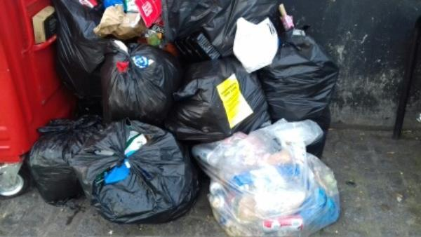 Several bags of domestic wastes and Nike boxes dumped opposite 3 Prince Regent Lane junction with Barking Road -4 Prince Regent Lane, London, E13 8QG