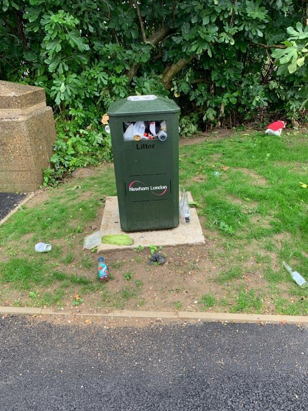 Bin overflowing since the weekend due to football game. Several bins on the Greenway need emptied and are always forgotten about after events at the Olympic Park.-95 Otter Close, London, E15 2PX