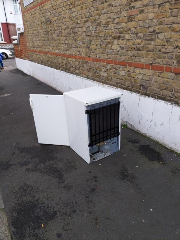 dumped fridge in the sidewalk-74 Ladysmith Avenue, East Ham, E6 3AR