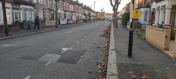 road and pavement needs sweeping -44 Stanley Road, London, E12 6RJ