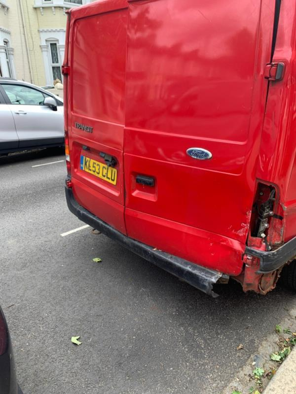 It's looks like a dump van has no resident or visiting permits on display for about the last few weeks causing inconvenience for the people with residents permit and disability badge. So would you please remove it ASAP. -25 Shelley Avenue, Manor Park, E12 6SP