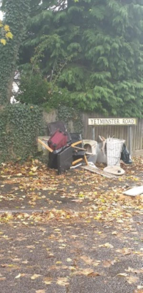 Someone has fly tipped all this at junction of Yetminster Road and Cambridge Road East Farnborough GU146QY -71 Cambridge Road East, Farnborough, GU14 6QX