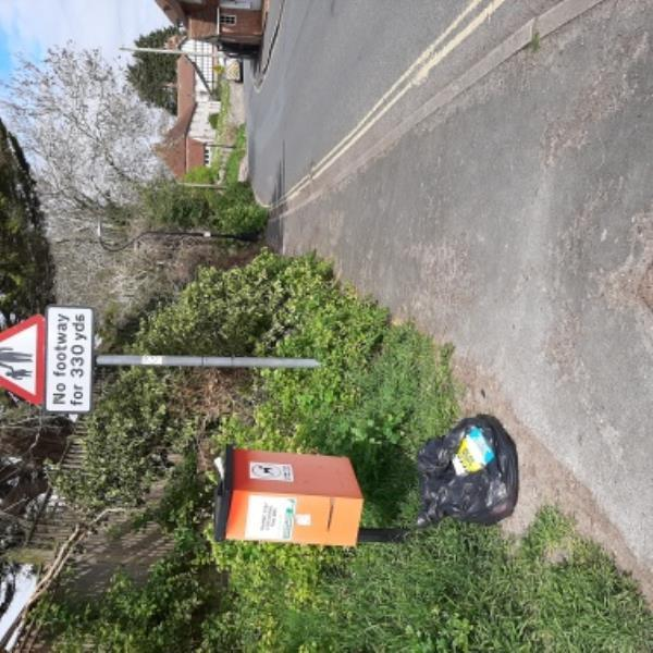 SEESL 06/04/20 @ 10.40AM. FLY-TIP.  Black sack by fog bin, opposite 80 Wish Hill, Willingdon.  PLEASE REMOVE. -84 Wish Hill, Eastbourne, BN20 9HE