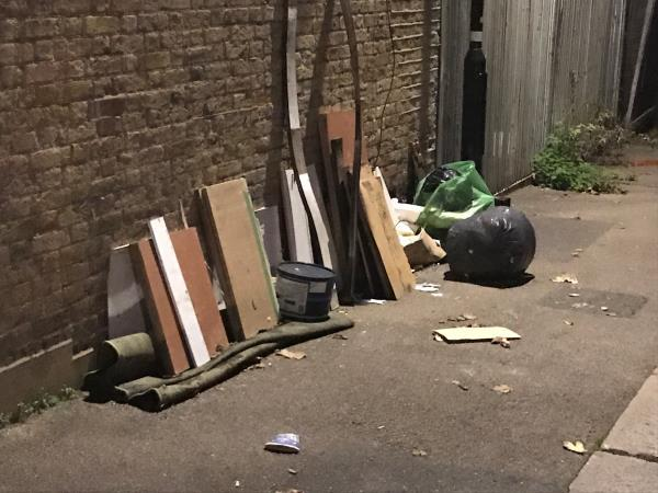 Benin Street jw Blashford Street - fly tip wood etc-100 The Woodlands, London, SE13 6TX
