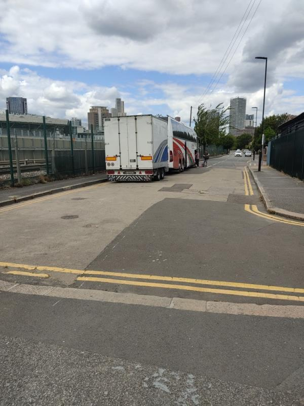 using the high way as a coach station every week. please can this be stopped -20 Mortham Street, London, E15 3LS