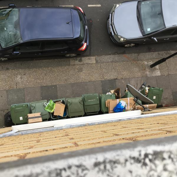 Cardboard on top of bins I'm there not putting it at side of flats they dump it on top of bins which bin men chuck on pavement??     -2A/2D Waterloo road E6 1AP