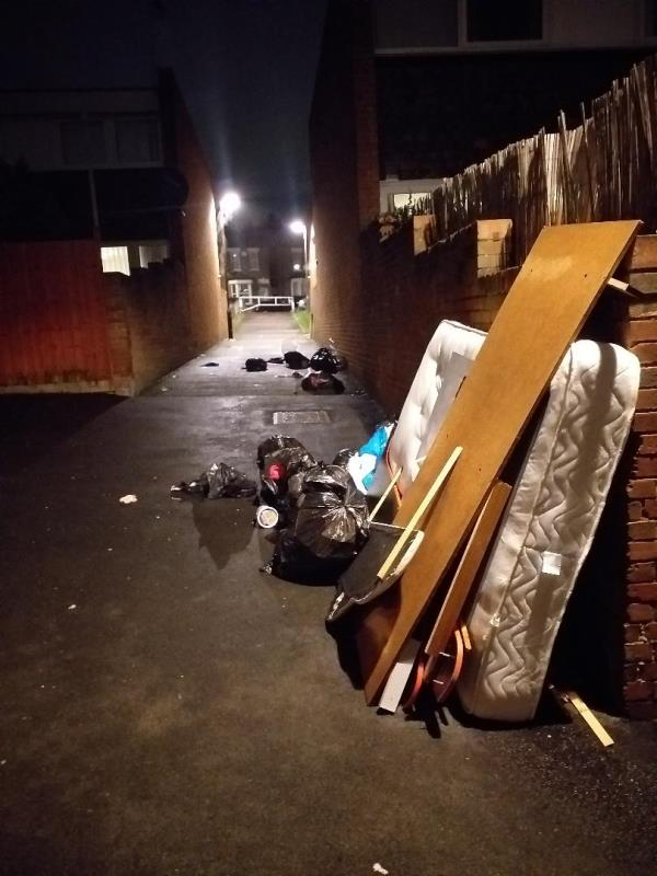 Between 1100hrs Friday 6th and 1900hrs Sunday 8th March someone has dumped a mattress, a dozen black sacks, a headboard and large pieces of wood (possibly from a bed) in the alley between 58 and 60 Pellatt Grove, leaning on the wall of 60 Pellatt Grove. -60 Pellatt Grove, London, N22 5PN
