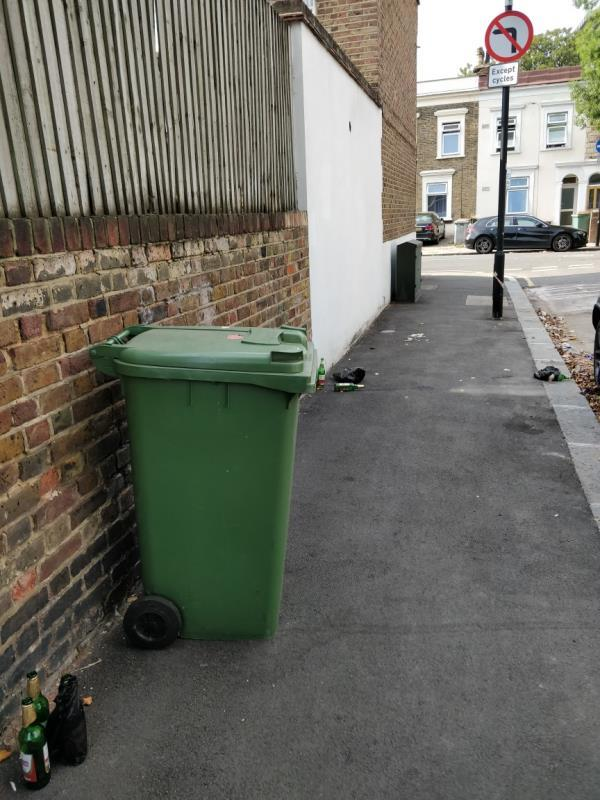 Alcohol related litter on Manbey Road -2 Manbey Road, London, E15 1ET