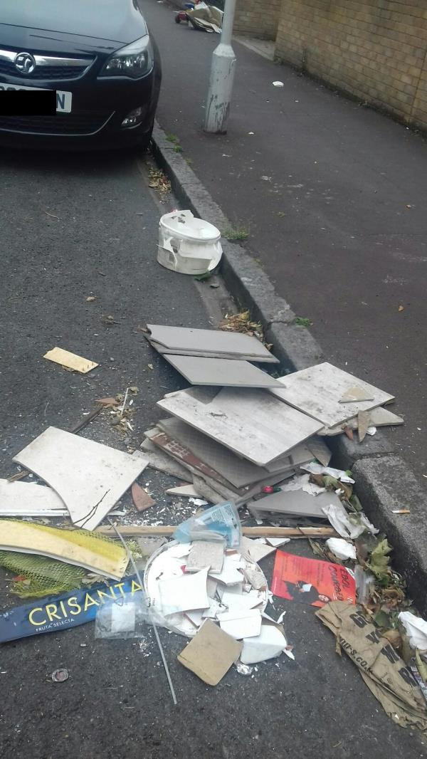 Pieces of broken tiles, plastic container, toy bike and cardboard boxes dumped at Grantham Road outside flat 1 to 16 Oldham house -Willis House Grantham Road, Manor Park, E12 5QZ