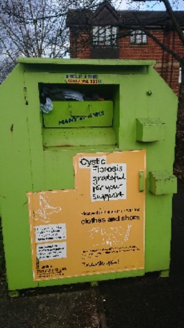 Clothing bank needs to be emptied -2 Pennyroyal Ct, Reading RG1 6HE, UK