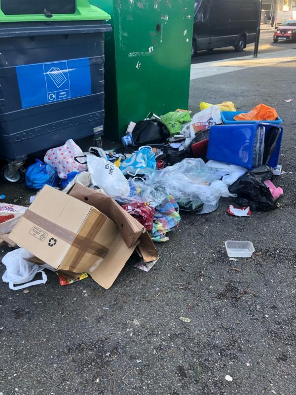 Large fly tip near recycling bins - address labels on some of the items tipped-Forest Gate Youth Centre, 1 Woodford Road, London, E7 0DH