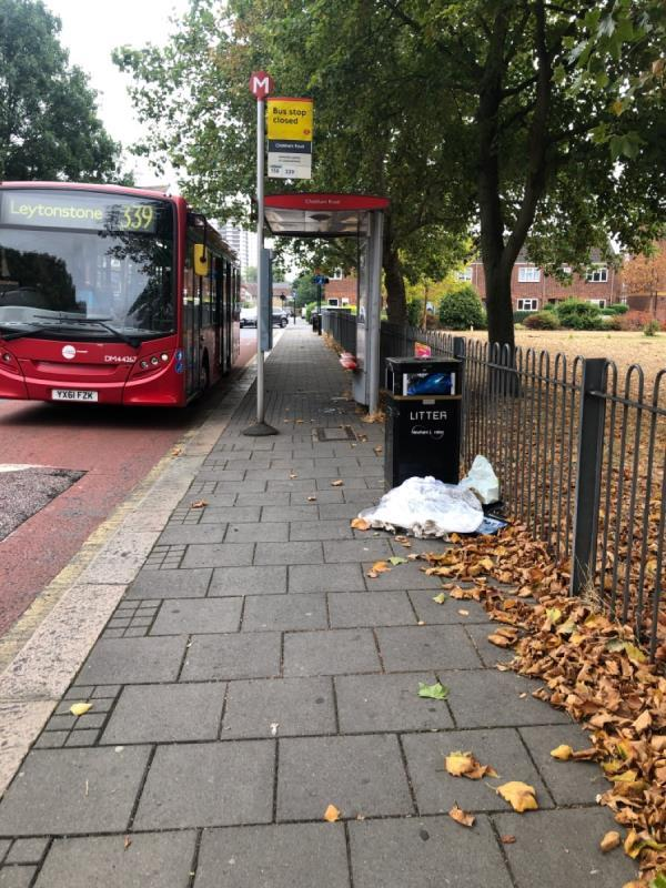 Bin full at major road bus stop -14 Parkway Crescent, London, E15 1AB