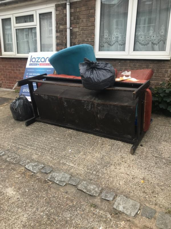 Property dumped crap outside, second time reporting this mess. Sofa black bags-56 Tower Hamlets Road, London, E7 9BZ