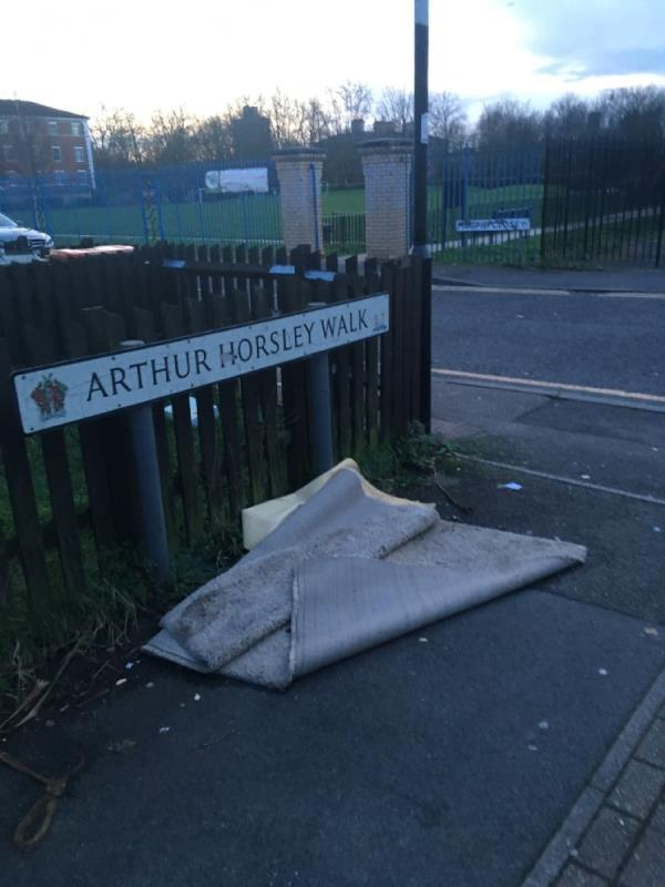 Fly tipping carpet-1 Arthur Horsley Walk, London, E7 9BZ