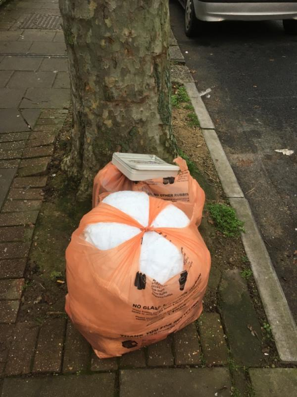 2 bags of rubbish dumped by tree o/s no 86. One bag previously reported and not cleared despite report completed email-86 Sherrard Road, London, E7 8DW