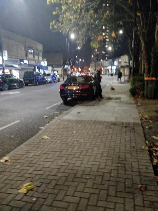 Car illegally parked on double yellow lines and cycle lane beside 171 Leytonstone Road E15-171a Leytonstone Road, London, E15 1LH