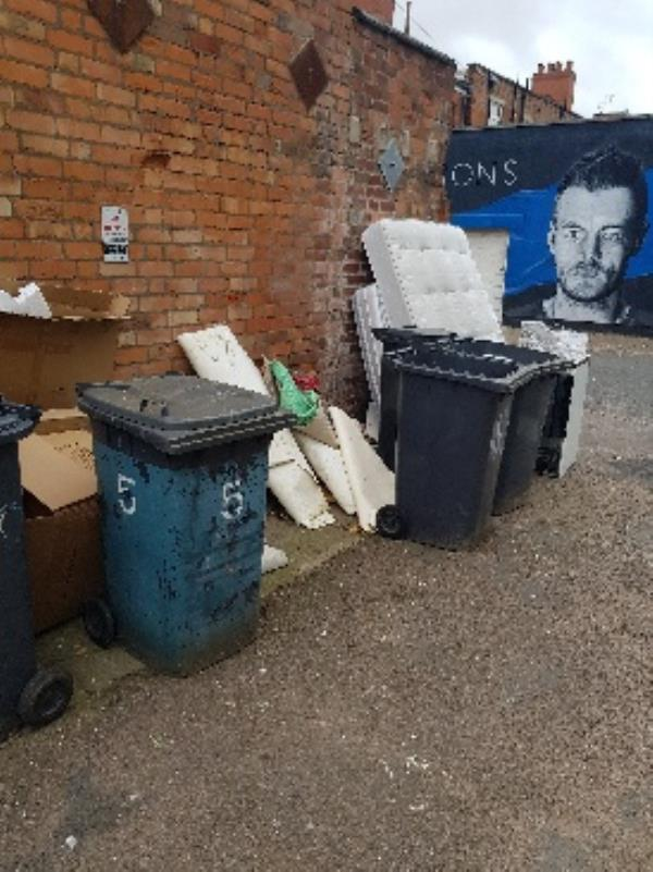 KATE ST. MORE ITEMS ILLEGALLY DUMPED. INC CARDBOARD WITH ADDRESSES ON IT. EVIDENCE FORWARDED TO CITY WARDENS.-52 Kate Street, Leicester, LE3 5RL