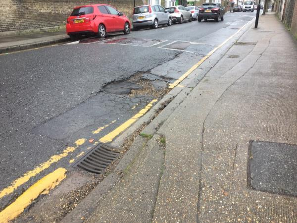 Keppell rd junction caulfield rd, road requires patchwork and nay cause damage to vehicles -44 Caledon Road, London, E6 2HE