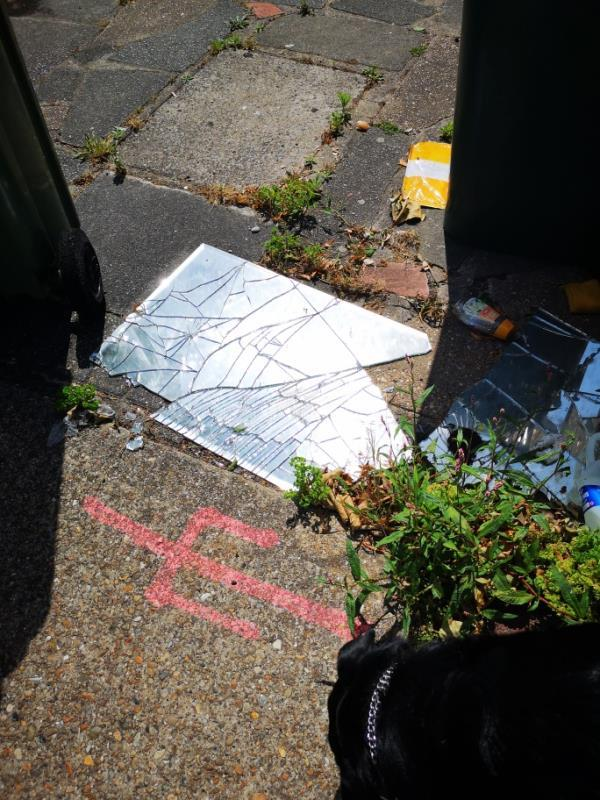 No 82 glass on floor that is from a mirror. Reported this months ago... Children school opposite. Come on tell people they can't just dump mirrors .. Can be used as a weapon. -80 Southern Road, Plaistow, E13 9JD