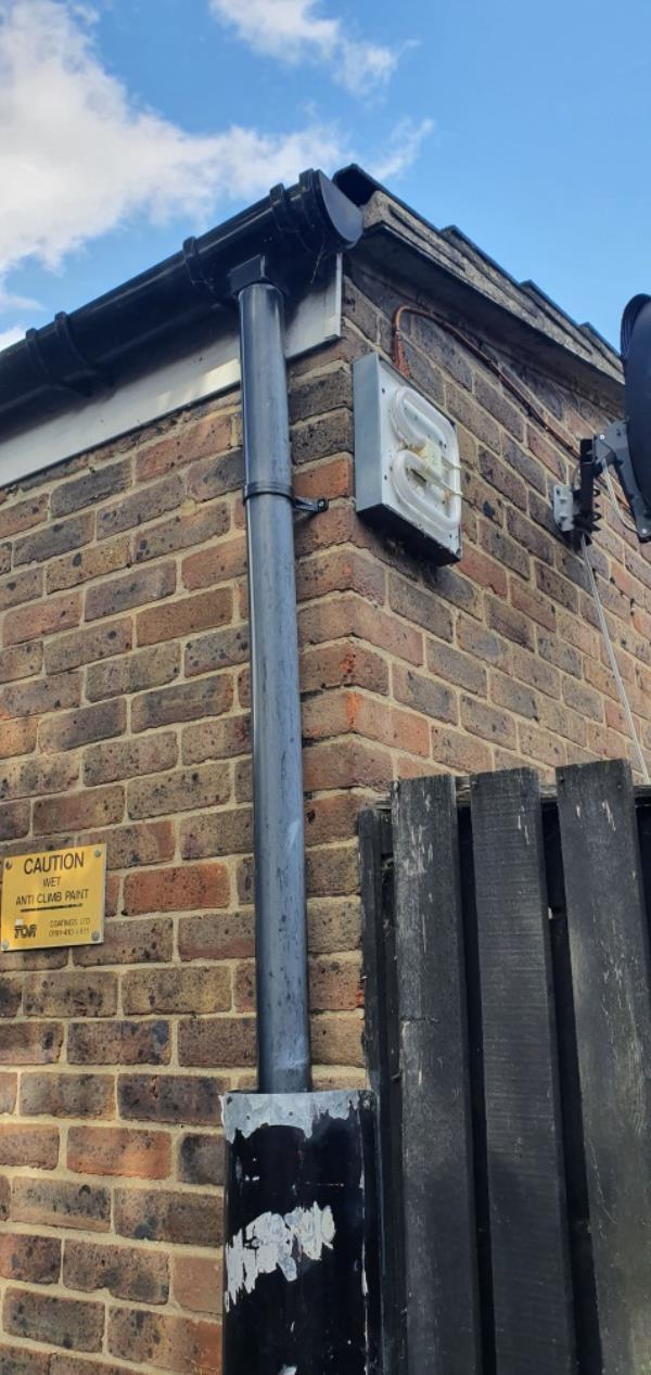 2x street lights on the exterior walls of properties 58 & 57 are not working. These lights illuminate the alleyway in front of 58 &57.  Residents have reported ASB issues in the alleyway and feel unsafe walking where the path is unlit.   *(please not the lights are on properties 58 & 57- the app will not allow me to input this)* image 1-54 Hoskin's Close, Canning Town, E16 3RH