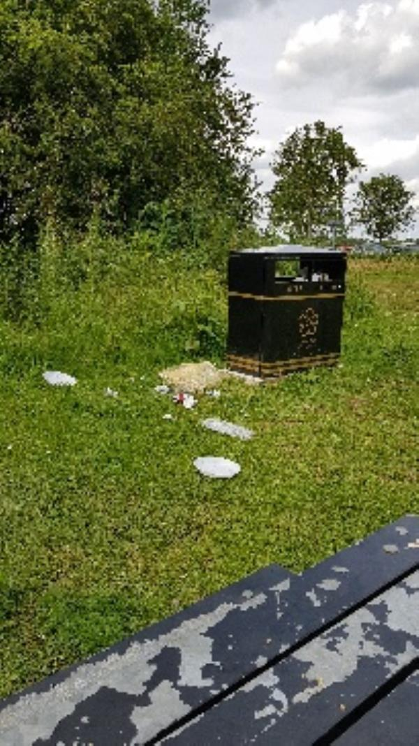 rubbish around bibs and not in them including glass bottles near children's play area and toilets and seating-43 Melton Avenue, Leicester, LE4 7SE
