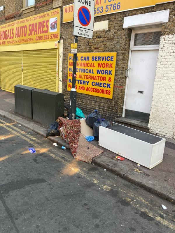 Constant fly tipping and rubbish dumping at this location-1a Fourth Avenue, Manor Park, E12 6DB