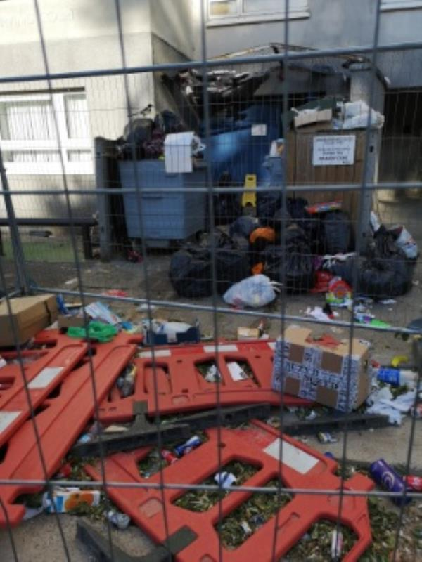 Huge mess at 203 Irving court block. The bins were emptied today but the area is still in the mess. Perfect environment for our little rats... -358 Wensley Road, Reading, RG1 6ED