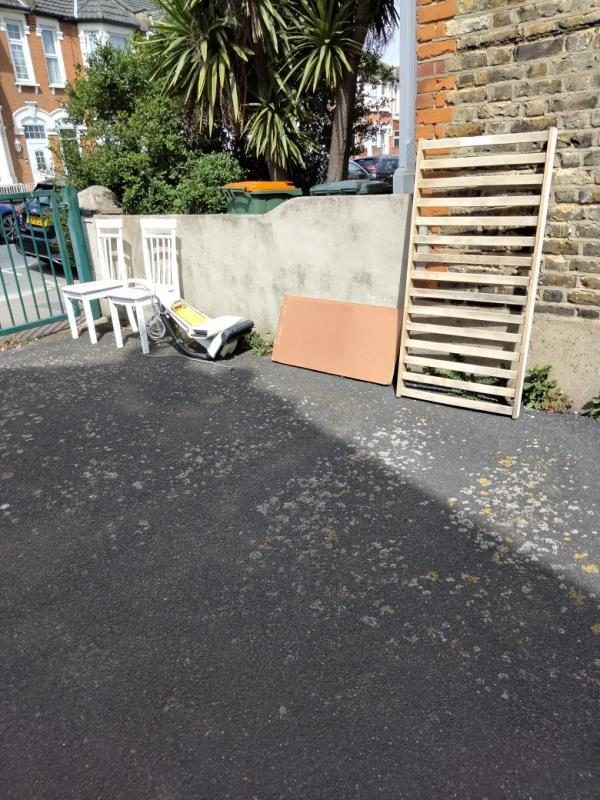 Flytip in the alleyway between Shakespeare Cresent and Hathaway crescent. Nearest door no. 135 Shakespeare.-137 Shakespeare Crescent, Manor Park, E12 6LW