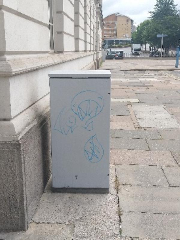 graffiti in electrical box at the end of Charles street-18 Market Place South, Leicester, LE1 5PD