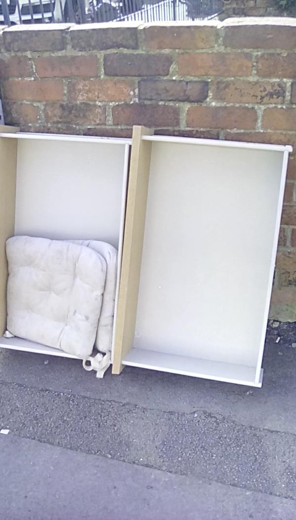 2 drawers, cushions and an oven rack dumped on pavement on the corner with George Street-1 Cambridge Street RG1 7PA