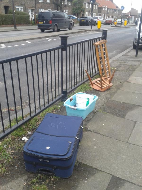 Please clear flytip from by railings-197 Southend Ln, London SE6 3DP, UK