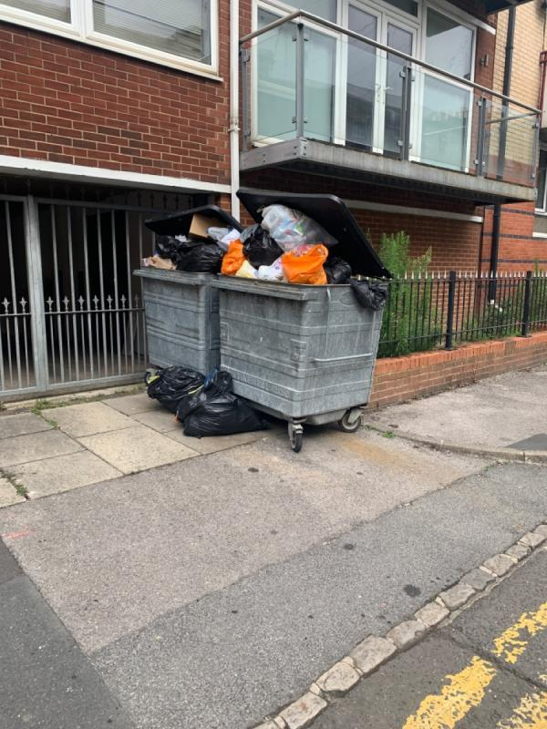 garbage outside fly tipping -Reada Court Vachel Road, Reading, RG1 1NS