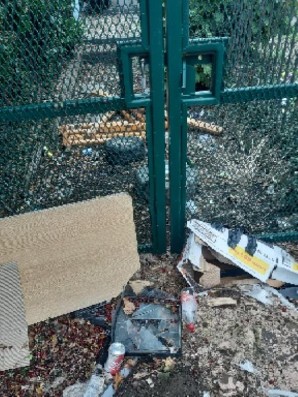 rubbish in and around electrical substation by 433 Braunstone Lane -410 Braunstone Lane, Leicester, LE3 3DD