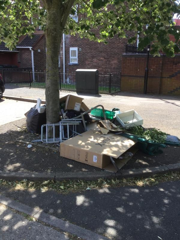 Large fly tip by lamppost 4 of various waste, mostly cardboard. One box has a name and address on it -28 Clements Avenue, London, E16 3AA