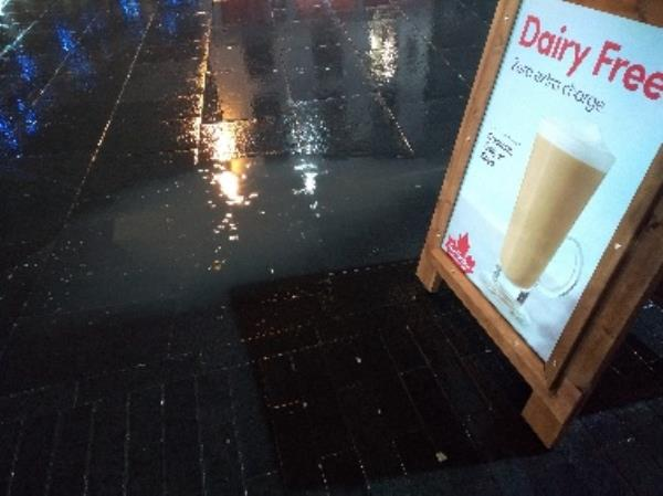 Drain blocked outside of Tim hortons on the pavement please email me why -2-4 Haymarket, Leicester, LE1 3GD