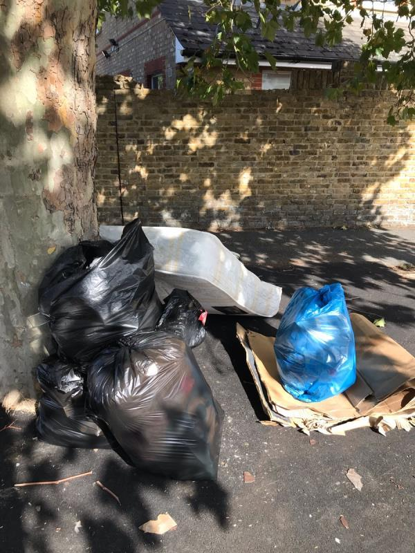 4 black sacks, cardboard, mattress opp 7 wool stone rd by tree-10 Perry Hill, London, SE6 4DU