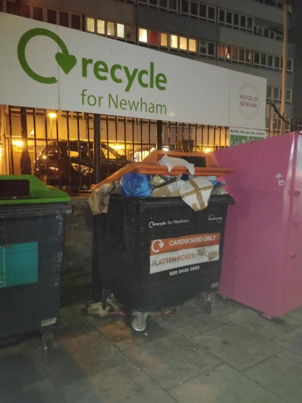 Newham Council commercial bin overflowing in front of Henniker Point Leytonstone Road E15-Henniker Point Leytonstone Road, London, E15 1JY