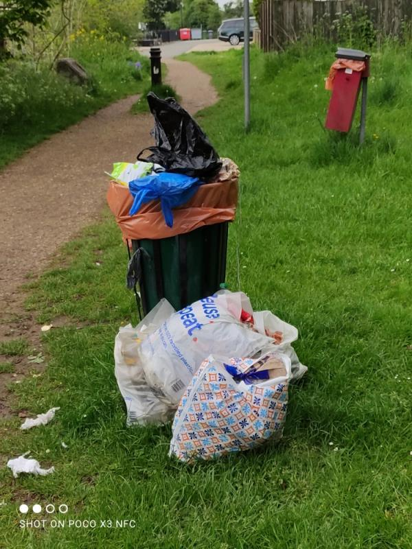 Overflowing rubbish bins-26 Riverside Park Scours Lane, Reading, RG30 6AX