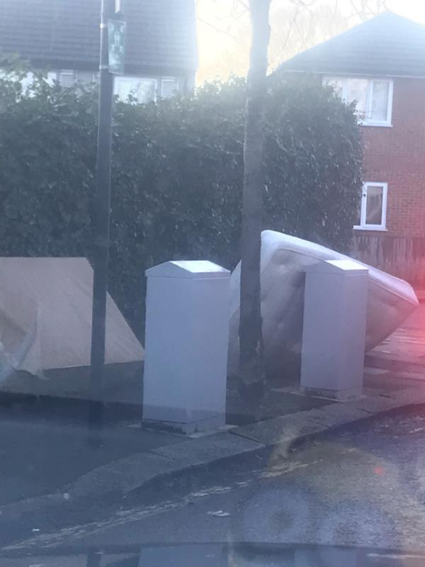 Fly tipped tv bed and marress is completely blocking the pavement opposite 79 Costons Lane Ub6 (Brent lodge)-1 Betham Road, London, UB6 8RY