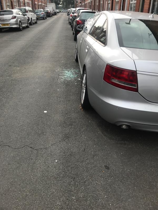 Broken glass from car-11 Chartley Road, Leicester, LE3 1AB