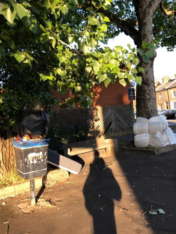 Fly tipping... mattresses and other items dumped.. they were not there yesterday -99 Winsor Terrace, London, E6 6LJ