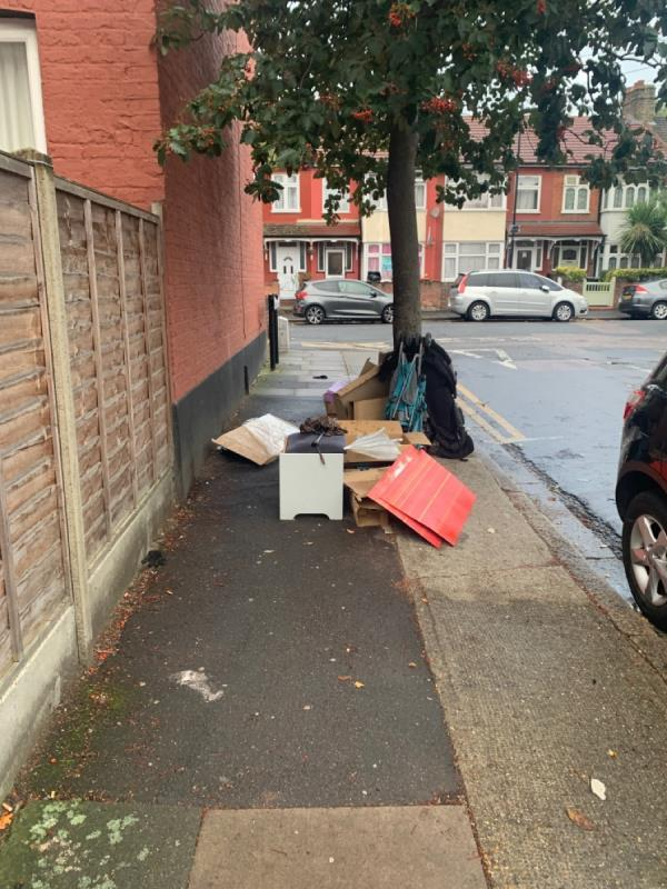 Large pile of rubbish blocking pavement by the magic rubbish removal tree Langdon Road near junction park avenue. Schoolchildren and parents forced to walk in road-2 Langdon Road, East Ham, E6 2QB